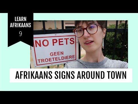 Learn Afrikaans with signs around town | Afrikaans met Lindie 08