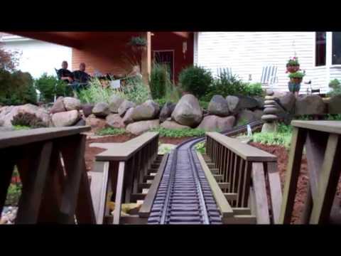 Reindeer Pass Garden Railroad: Engineer's View at The Kidman Tree Farm, Polk City, IA
