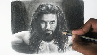 Pencil Sketch of Ranveer Singh as Alauddin Khilji | Padmaavat scenes | Padmavati movie
