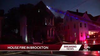 Fire rages through Brockton home