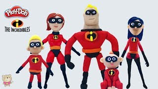 PLAY DOH FIGURES THE INCREDIBLES FAMILY  ALL CHARACTERS   Superheroes Easy Modelling Clay Tutorial