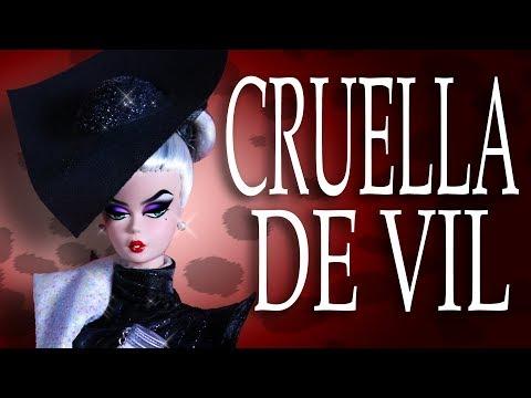 Custom Cruella De Vil Doll Barbie Silkstone Repaint  101 DALMATIANS