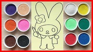 Đồ chơi TÔ MÀU TRANH CÁT thỏ bảy màu xinh Learn colors Sand Painting Toys (Chim Xinh)