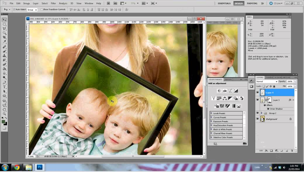 How to create a 3 generation frame photo (no sound) - YouTube