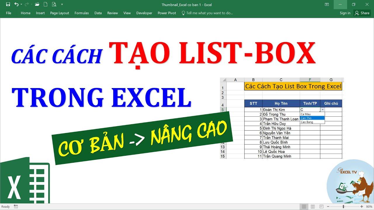 Các cách tạo Listbox trong Excel từ cơ bản đến nâng cao