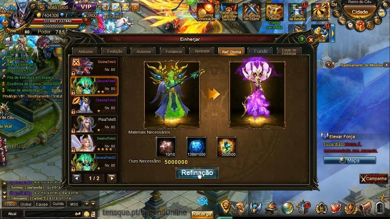 Legend Online - Refinação Divina de Einherjar (Hades - Gaia)
