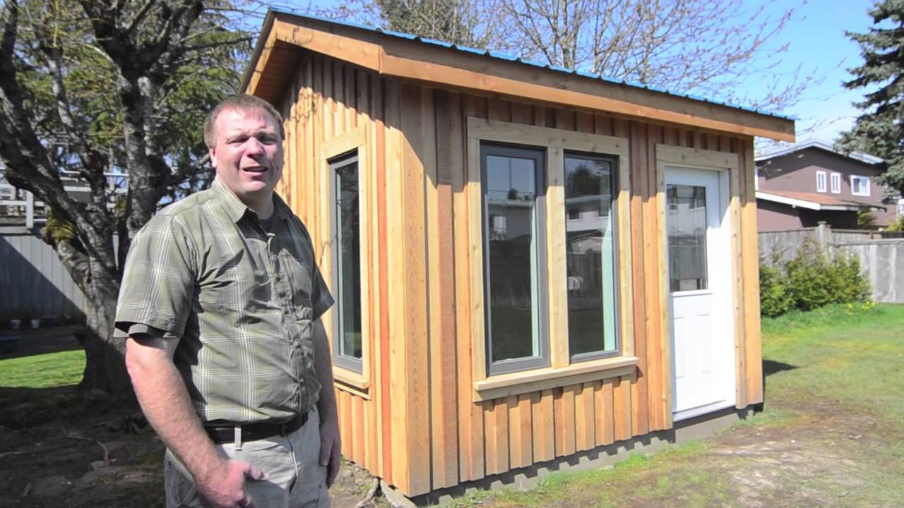 Backyard office studio shed youtube for Building a home office in backyard