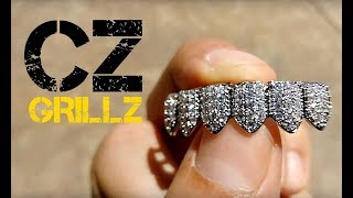 CZ Grillz Bottom Teeth Silver Tone Six PC Bling Iced-Out Pre-Made Grills