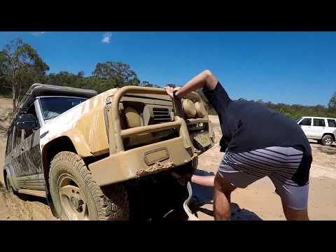 Mud hole GONE WRONG..again?! Nissan patrol GQ vs Mitsubishi triton MQ vs holden jackaroo