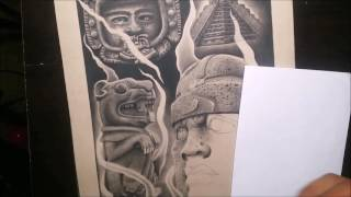 Drawing Mayan Ancient Artifacts Timelapse 20 Hrs Charcoal