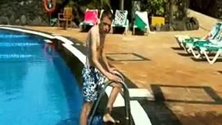 sam beamon as mr bean beach toilets swimming pool
