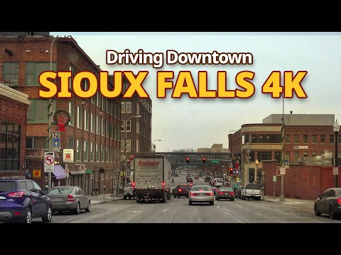 Sioux Falls 4K - Driving Downtown -  South Dakota, USA