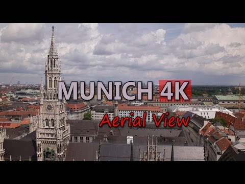 Ultra HD 4K Munich Travel Aerial View Vacation Sightseeing Tourist Attraction Video Stock Footage