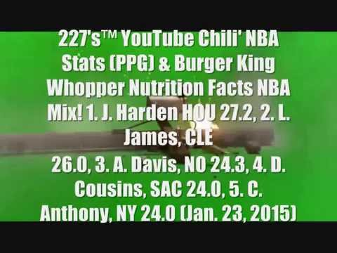 227's™ YouTube Chili' NBA Burger King Whopper Spicy' Stats (Points) NBA Mix!
