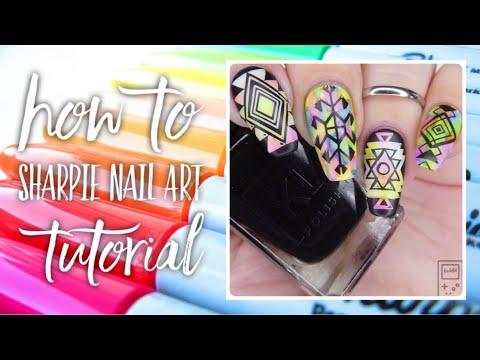 HOW TO SHARPIE NAIL ART | Sharpie Marble & Sharpie Stamping | bwidix thumbnail
