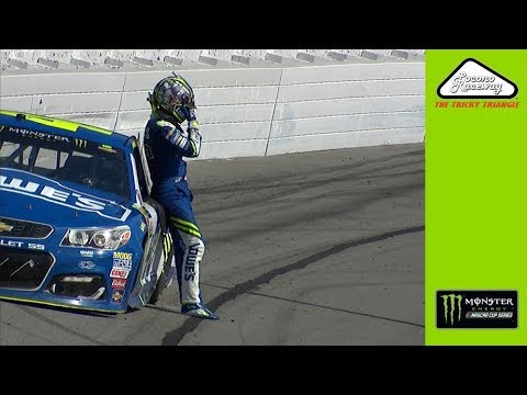 Jimmie Johnson reacts to big hit at Pocono