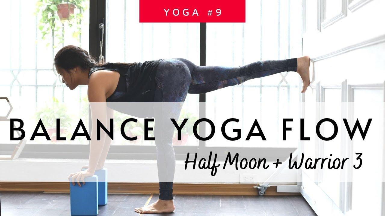 Yoga for Balance| Half Moon & Warrior 3 with wall| Strong Tone Legs #9