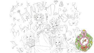 Kijk Happy New Year tekening filmpje