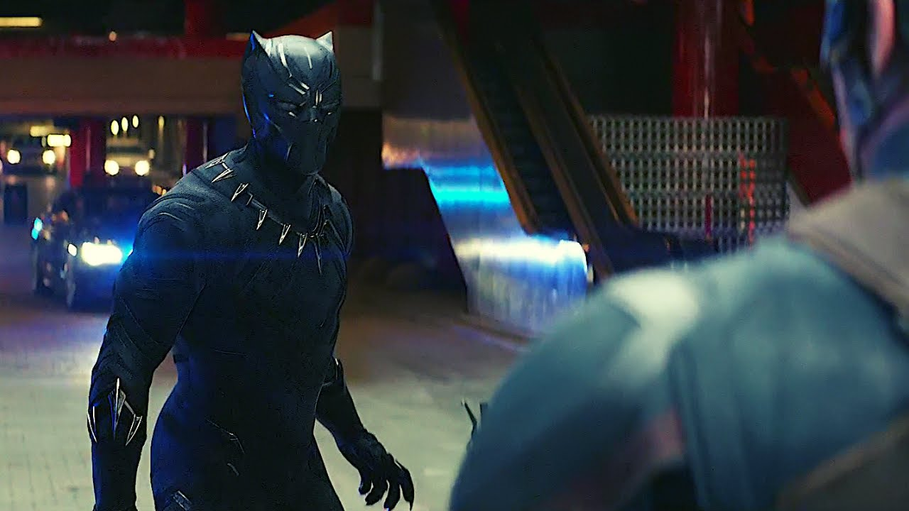Black Panther Chasing Bucky Captain America Civil War - YouT