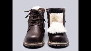 Winter boots russian style    Full grain leather Sheep Fur Handmade Men Winter Snow Boots