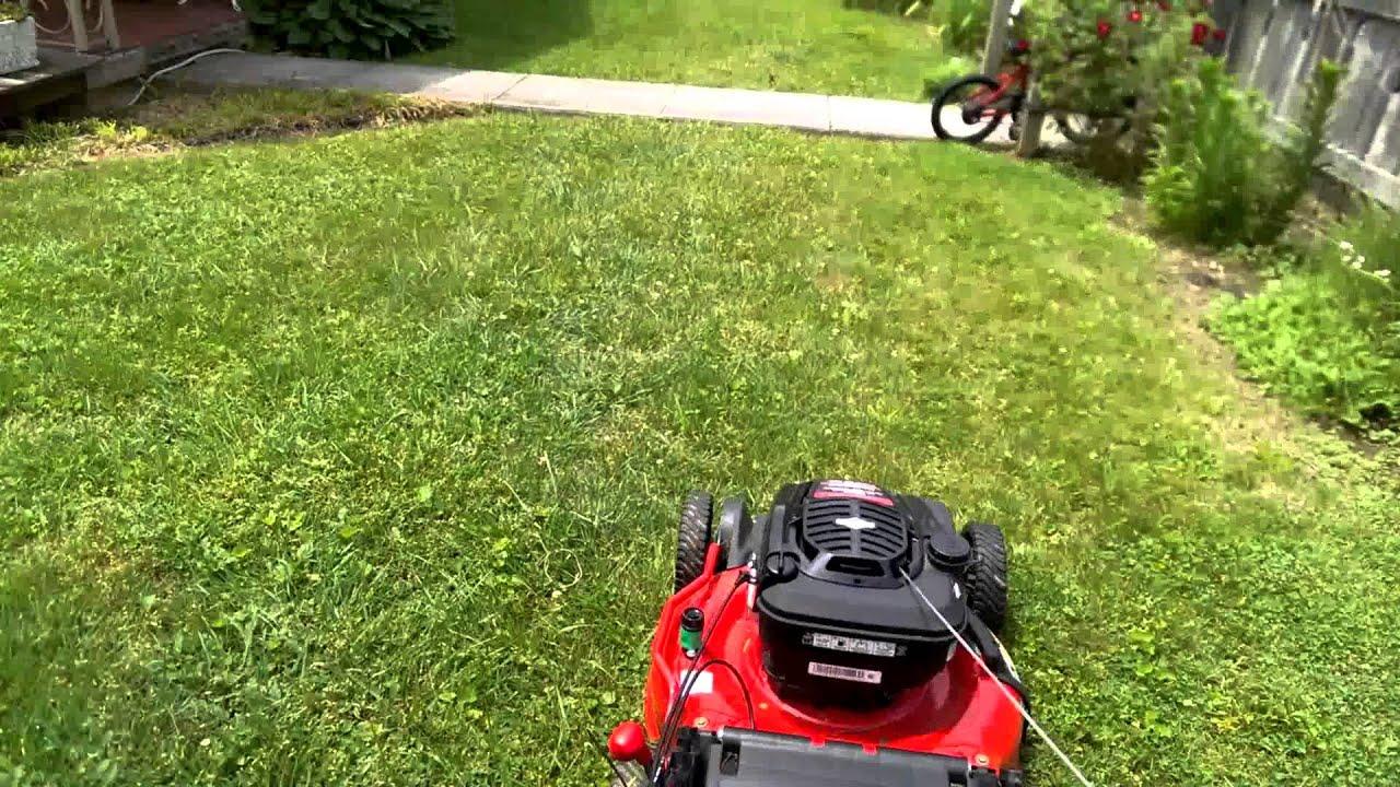 Troybilt Push Mower Mulching Wet Grass Lawn Care Youtube