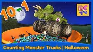 Counting Monster Trucks - Halloween Edition | Learn to Count Backwards from 10-1 for Kids