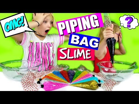 3 Colors Of Glue Slime PIPING BAG Challenge!!!