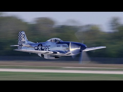 20 - P-51 Mustangs take-off! HUGE formation of humming Merlins fill the air!