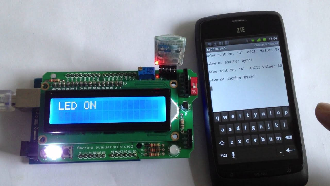 LED switch on VT-100 terminal Emulator- Amarino Evaluation shield-  buildcircuit com