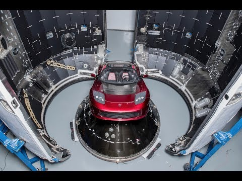Elon Musk shows his Tesla Roadster that will go in Space
