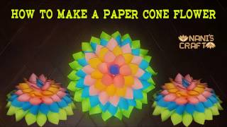 How To Make a Paper Cone Flower || VERY EASY || Naniscraft