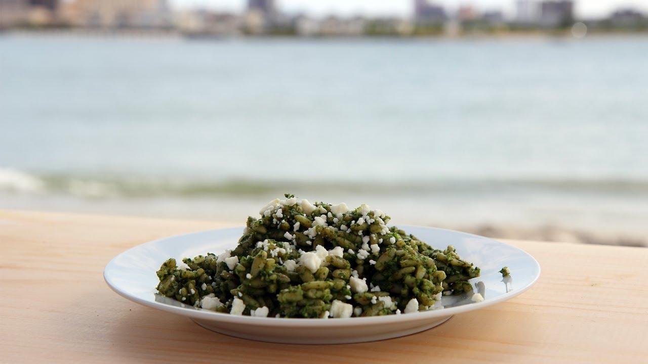 Orzo with Spinach Pesto Recipe - Laura Vitale - Laura in the Kitchen ...