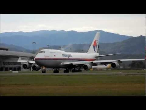 Malaysia Airlines B747-400 departing at Kota Kinabalu.