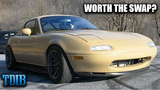homepage tile video photo for K24 Swapped Mazda Miata Review! Is a K-Swap Really Worth It?