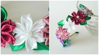 Ободок из цветов канзаши(В этом видео вы увидите, как сделать ободок для волос из цветов канзаши. Лепестки цветов мы будем делать..., 2015-06-21T15:24:29.000Z)