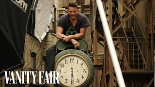 Channing Tatum Poses in the Rain for Ann...