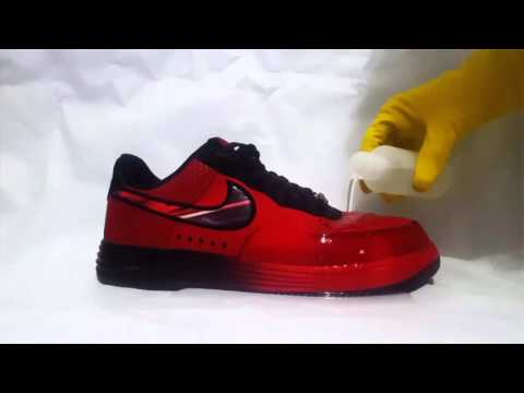 """Nano Fabric X """"antes y después"""" de aplicar en calzado deportivo."""