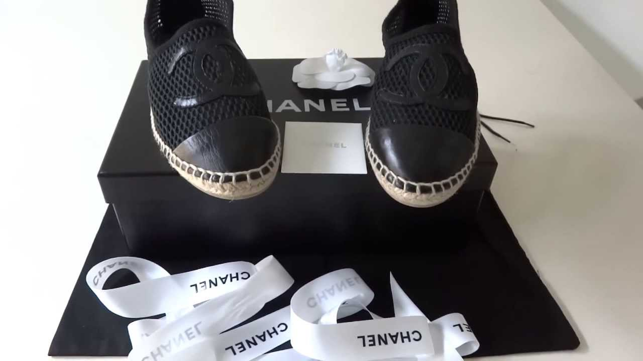 Sold Chanel Espadrille Black Mesh With Big Cc Leather