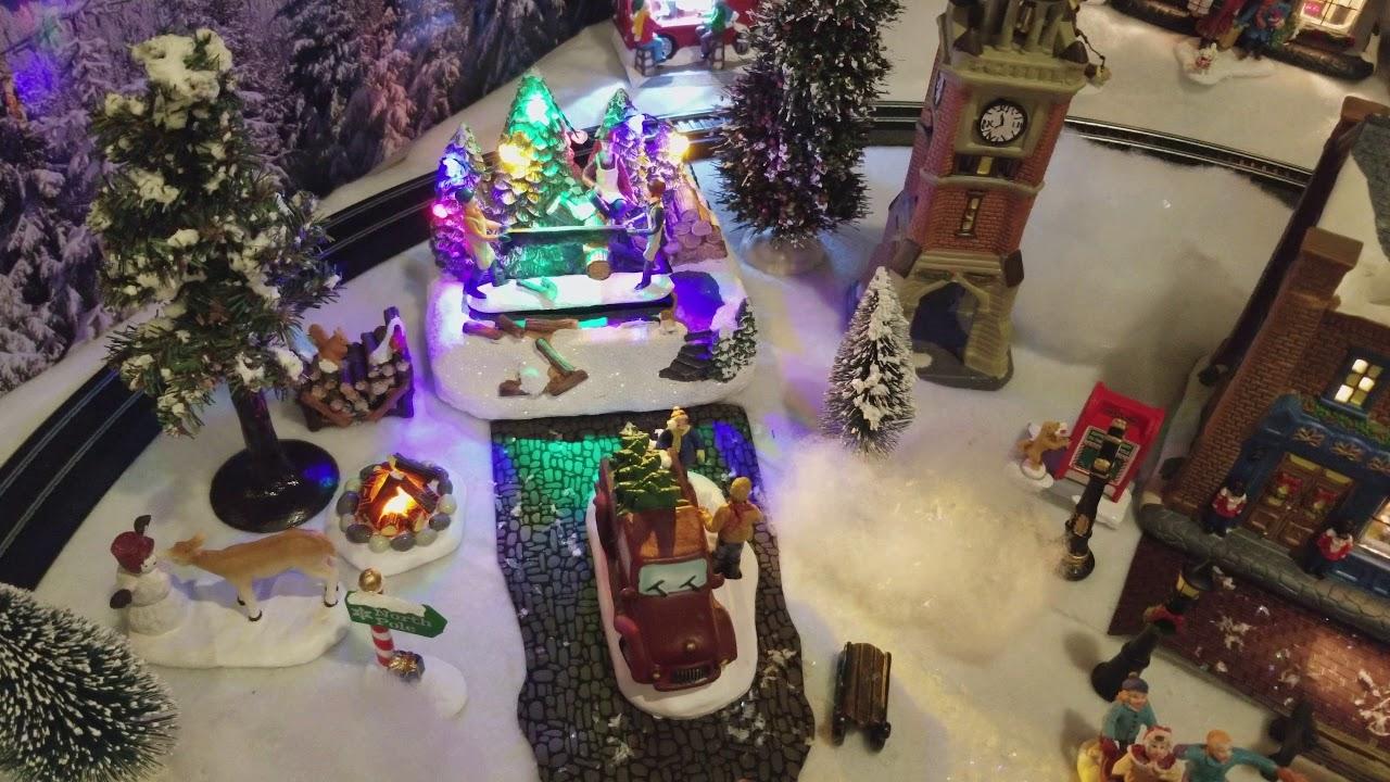 walmart christmas village and bachmann train set