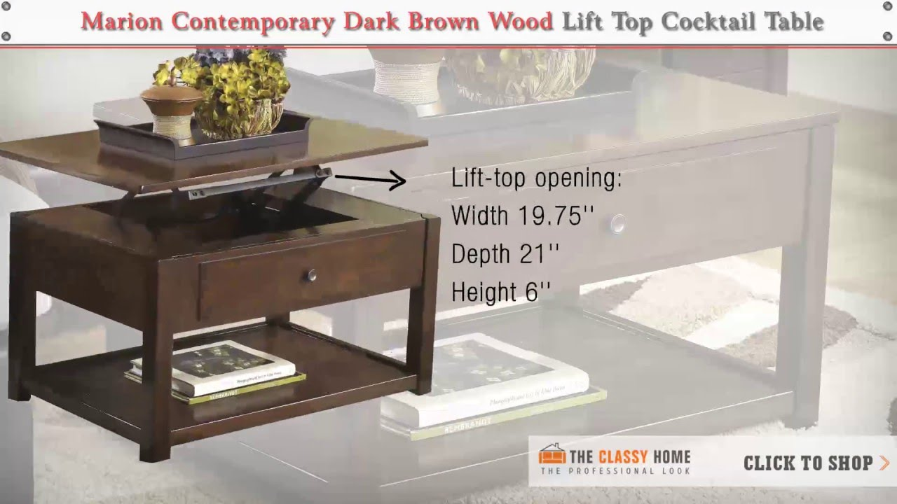 Ashley Marion Contemporary Dark Brown Wood Lift Top Cocktail Table