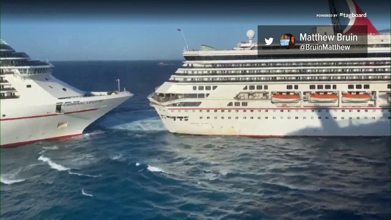 Carnival Cruise Line Crash 2 Ships Crash Into Each Other In Cozumel Mexico Youtube