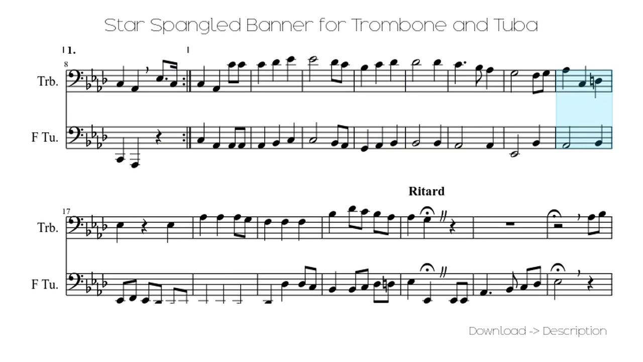 🎶 Star Spangled Banner For Trombone And Tuba 🎸🎸 - YouTube