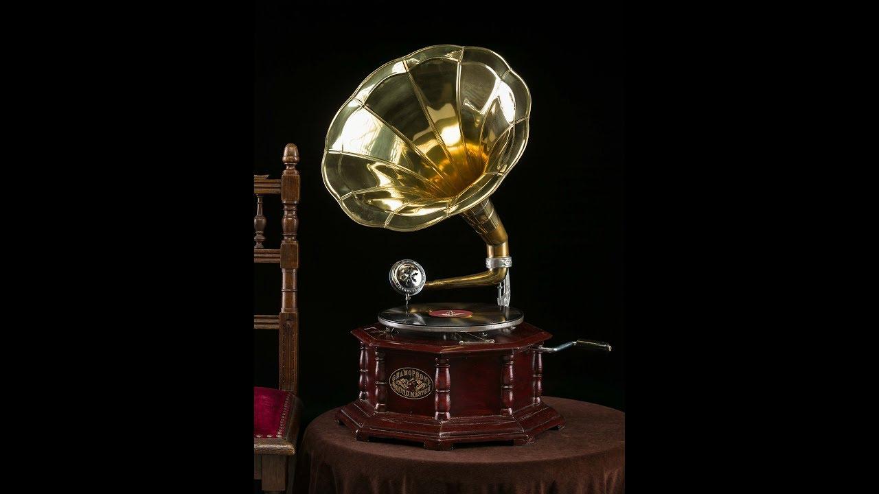 Nostalgie Grammophon Gramophone Dekoration mit Trichter Grammofon Antik-Stil Musikinstrumente f