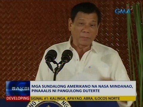 SAKSI: Mga sundalong Amerikano na nasa Mindanao, pinaaalis ni Pang. Duterte