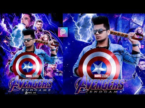 PicsArt- AVENGERS END GAME Movie Poster Photo editing tutorial in Picsart Step by Step in Hindi thumbnail
