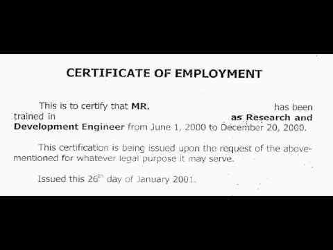 Employment Certificate wwwpicturesso