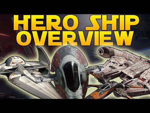 HERO SHIP OVERVIEW - Star Wars Battlefront II (Slave I, Scimitar, Black One, Millennium Falcon)