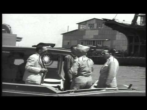 Congressmen visit and tour Honolulu harbor, Hawaii in a motor launch. HD Stock Footage
