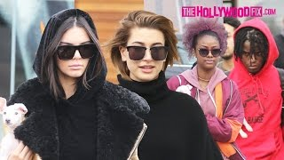 Kendall Jenner, Hailey Baldwin, Ian Connor & Justine Skye Go Shopping In West Hollywood