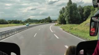 driver view bus ride in Germany from Rastatt to Kehl on B3, A5 and B28 (2 of 3)